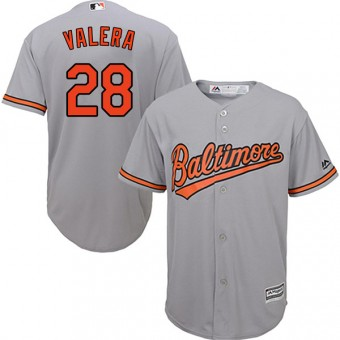 Authentic Baltimore Orioles Breyvic Valera Majestic Cool Base Road Jersey - Grey