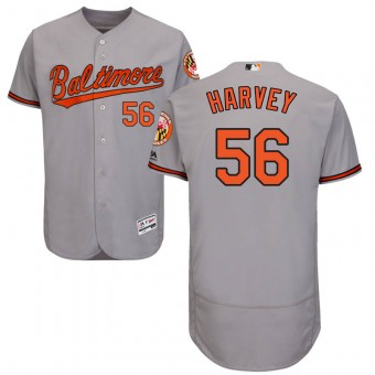 Authentic Baltimore Orioles Hunter Harvey Majestic Flex Base Road Collection Jersey - Gray