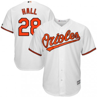 Replica Baltimore Orioles DL Hall Majestic Cool Base Home Jersey - White